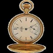 Antique 14K Yellow Gold Diamond Elgin Butterfly Hunter Pocket Watch 1893