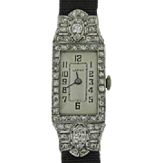Platinum vintage Leroy Ladies Diamond watch With Black Strap  Circa 1940's.