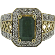 14K Yellow Gold Vintage  Emerald & micro pave' Diamond ring