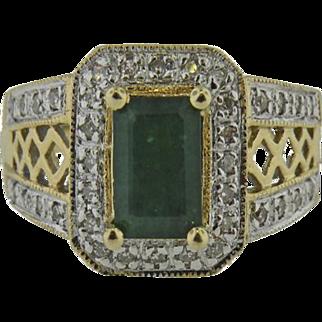 14K Yellow Gold Vintage  Emerald & micro pave' Diamond ring