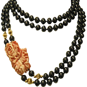 Vintage Floral Carved Salmon Coral,  Black Onyx & 14k Yellow Gold bead 38 inch necklace