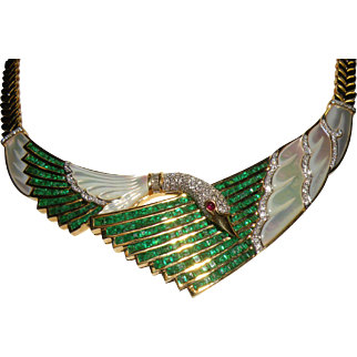 18K Vintage custom hand made Swan  Emerald & Diamond Mother Of Pearl Necklace & ring set