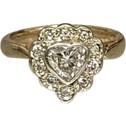 14K  Yellow Gold White Gold Diamond Heart Ring .070cttw