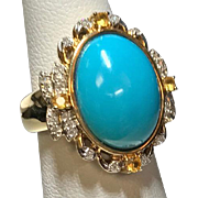 14K Yellow Gold Persian Turquoise Diamond & Citrine Ring