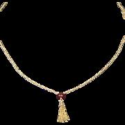 Vintage 14 Karat Yellow Gold Chain with Cornelian Bead Tassle