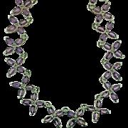 Vintage Sterling Silver Amethyst Necklace In Floral Pattern