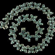 Vintage Sterling Silver Blue Topaz Necklace In Floral Pattern