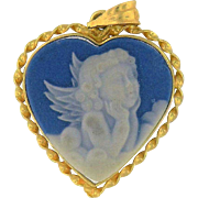 Vintage Heart Shaped Blue and White Cherub 14k Gold Frame Cameo-style Pendant