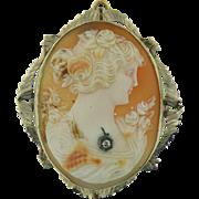 Multi-tone Vintage Shell Brooch/Pendant Framed in 14K White Gold /Single Diamond