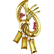 14 Karat Rose Gold Vintage Pin  Citrine, Ruby and Diamond