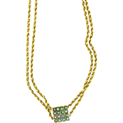 14 Karat Yellow Gold Vintage Double Rope Chain with Opal Studded Slide