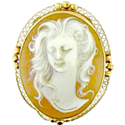 Cameo Brooch/Pendant with Fine 14 Karat Yellow Gold  Filigree
