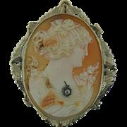 Vintage Cornelian Shell Brooch/Pendant Framed in 14 Karat White Gold
