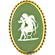 Vintage Wedgwood Cameo Brooch from England - Green Jasperware, Oval, Gold Filled