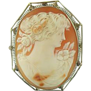 Beautiful Antique Cameo,  Carved Cornelian Shell Brooch/Pendant with fine 14 Karat White Gold Filigree late 19th Century!