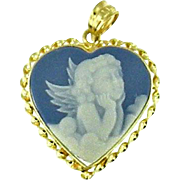 Vintage 14 Karat Yellow Gold Heart-Shaped Blue and White Cherub Pendant