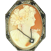 Cameo Carved Carnelian Shell Brooch/Pendant White 14 karat Gold Late 19th Century