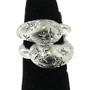 Vintage 14 Karat White Gold Hand-crafted Bypass Style Ladies Ring
