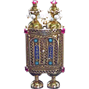 Beautiful Vintage Torah-Scroll Pendant 14K Gold, Opens to show Ten Commandments on scroll Marked Medina Made in Israel