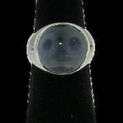 Vintage 14 Karat White Gold Men's Sapphire Cabochon and Diamond Ring