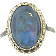 14KT White Gold Hand-made Black Opal Ring Circa 1940