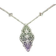 Antique 14 Karat White Gold Diamond Pendant and Chain
