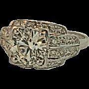 Vintage, Platinum, Ladies Engagement Ring Circa 1930's
