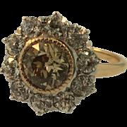 Antique 14 Karat Rose Gold and Platinum Fancy Color Champagne & White Diamond Ring