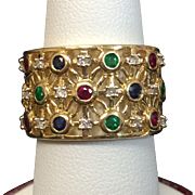Vintage Ladies 10 Karat Yellow Gold Diamond and Gemstone Ring