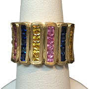 Vintage 14 Karat Yellow Gold Ladies Sapphire Ring