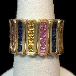 Vintage 14 Karat Yellow Gold Ladies Sapphire Ring