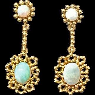 Beautiful Pair of Vintage 14k Opal Dangle Drop Earrings