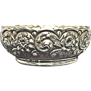 Sterling Silver Repousse Fruit Bowl with Floral Decorations