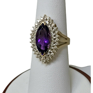 14 K Yellow Gold Ladies Amethyst and Diamond Ring