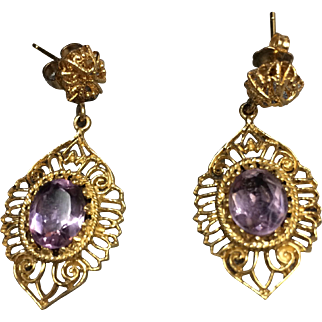 14K vintage  Oval Amethyst  Dangle Filigree Earrings