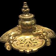Vintage Brass Singlet Inkwell