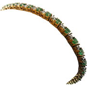 14K Yellow Gold Emerald & Diamond Tennis Bracelet Vintage
