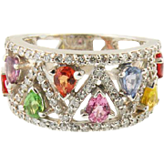 14K White Gold Diamond & multi color Sapphire Ring