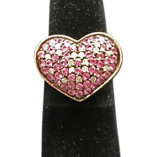 14 K Rose Gold Pink Sapphire And Diamond  Heart Ring Vintage!