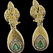 14 K Yellow Gold Emerald & Diamond Drop Earrings.