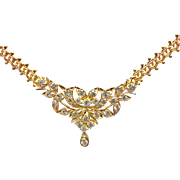 18K Yellow Gold  Vintage Floral Diamond Drop necklace