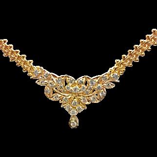18K Yellow Gold  Vintage Floral Diamond Drop necklace
