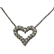 14 K White Gold Round Brilliant Cut Diamond Heart & 16 inch Rolo Chain