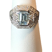 14 K White Gold Filigree Art Deco style Vintage Emerald cut Aquamarine & Diamond  Ring