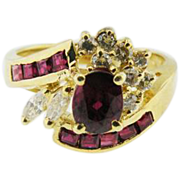 14K yellow Gold Oval Rich Red Ruby & Diamond Ring