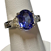 18 K White Gold Oval Tanzanite & Diamond Ring