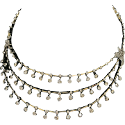 18 k Yellow Gold Vintage Estate Triple Tiered Diamond Necklace,  12.76cttw.  Circa 1940's