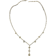 18K White Gold Diamond Necklace Vintage.