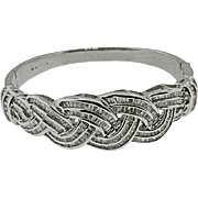18 K White Gold Vintage Diamond Bangle Bracelet