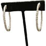 14 K White Gold Large Oval Diamond Hoop Earrings. 3.50cttw